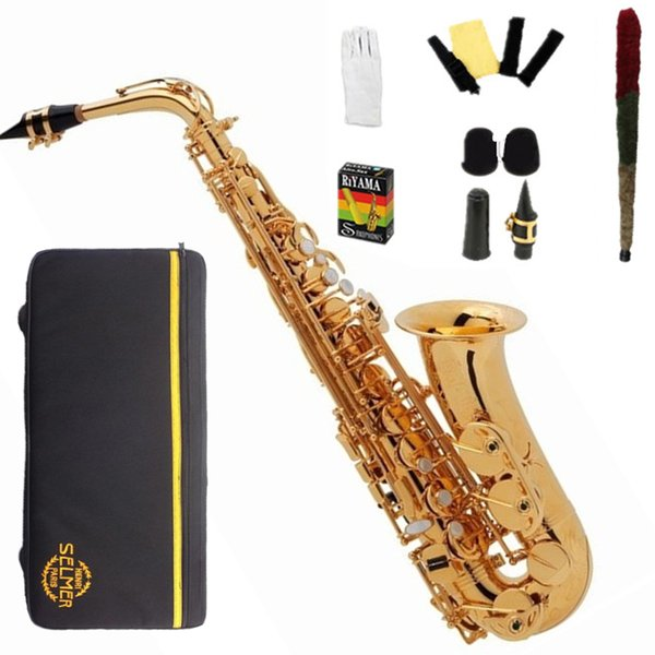 Japan Alto Saxophone 275 Electrophoresis gold Pearl button Sax saxofone musical instruments professional Mouthpiece Hard With box