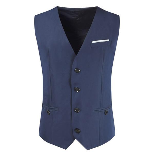 Newest Men's Classic Formal Business Slim Fit Chain Dress Vest Suit Tuxedo Waistcoat Mens Fashion Vest Waistcoat Men Suit Dress