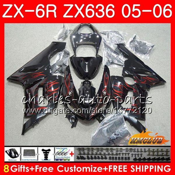 Cuerpo para KAWASAKI NINJA ZX-636 llamas rojas ZX 6R 600CC ZX-6R 05 06 35NO.117 ZX636 ZX 636 600 ZX600 ZX 6 R 2005 2006 ZX6R 05 06 ABS carenado