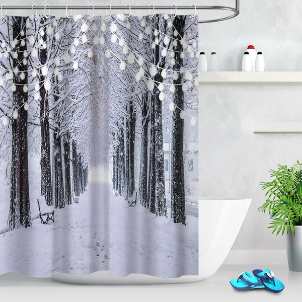 Winter Snow-covered Forest PathDurable Fabric Mold Proof Bathroom Pendant Creative with 12 Hooks 180X180CM