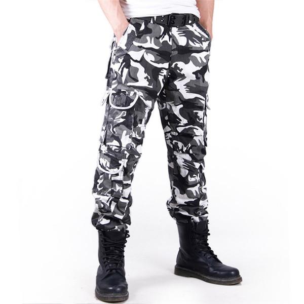 ICPANS erkek Kargo Pantolon Camo Rahat Taktik Pantolon Erkekler Birçok Cepler Ile Erkek Uzun Pantolon Ordu Kamuflaj Büyük Boy