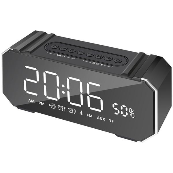 TOP!-10W Portable Bluetooth Speaker Wireless Stereo Soundbar Support Time Display Alarm Clock Fm Radio