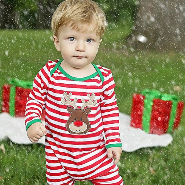 best selling Newborn Baby boyToddler Christmas fesitival Infant long-sleeved animal cartoon striped romper jumpsuit