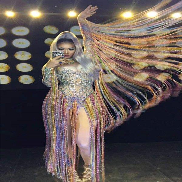 Y58 Colorful rhinestone bodysuit female pole dance dress long sleeve tassels elastic jumpsuit party outfits stage costume singer diamonds