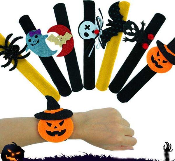 12 Estilo Creativo Pulsera de Halloween Calabaza Fantasma Felpa Slap Snap Pulsera Niños Adulto Halloween Loop Decoración Juguetes de Halloween