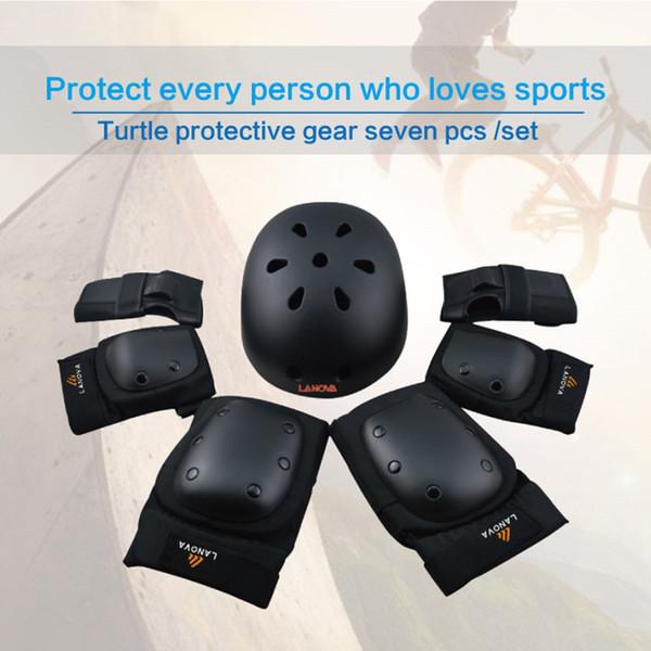 LANOVA 7 teile / satz schutz patins Set Knieschützer Ellbogenschützer Handgelenkschutz Schutz für Roller Radfahren Roller Skating helm