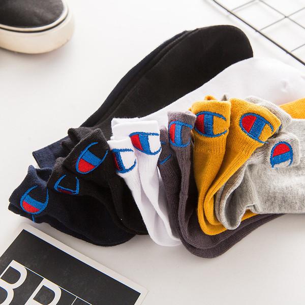 Marque Champion Hommes 100 Coton Mesh Chaussettes Bracelets de cheville Équipage bas Cut Sock Chaussons Chaussettes de sport Automne Casual Sneaker Bas Nouveau design C102202