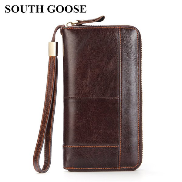 SOUTH GOOSE Men Wallet Clutch Genuine Leather Retro Men Long Wallets Male Organizer Cell Phone Clutch Bag Card Holder Coin Purse