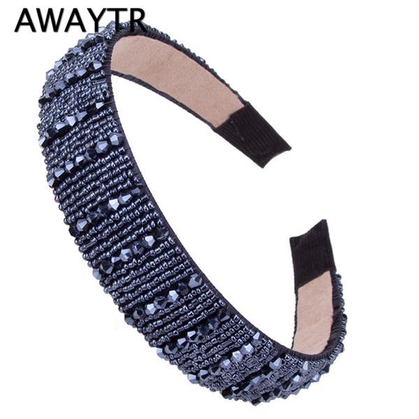 AWAYTR Women Fashion Crystal Beaded Wide Hair Hoop Hairband Lady Shiny Metal Handmade Headband Hair Jewelry Ornament
