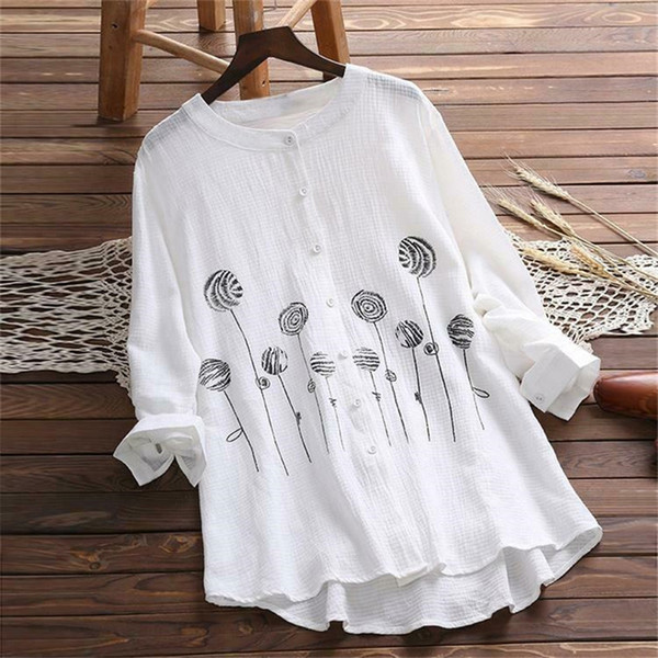get cheap classic shoes so cheap 2019 UK Women Cotton Tops Long Sleeve Tunic Blouse Flower Print Shirts Plus  Size From Lookpack, $22.78 | DHgate.Com