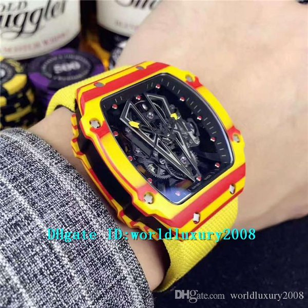 KL 27-03 Rafael Nada Yellow & Red Forged Carbon Mens Watch Black Skeleton Dial M9015 Automatic Movement 28800vph Sapphire Yellow Nylon Strap