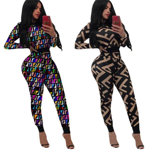 Frauen F Brief Trainingsanzug Langarm Hoodies Crop Top + Hosen 2 Stück Set Jogger Outfits Oansatz T-shirt Sweatsuit Sportswear Suit A21506