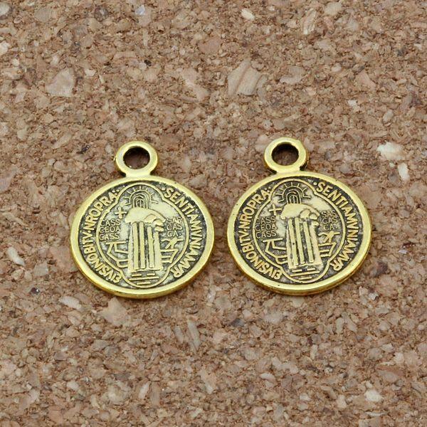 Saint Jesus Benedict Nursia Patron Medal Crucifix Cross Religious Charm Pendants Jewelry DIY 11.8x15mm 200Pcs/lot Antique gold A-381