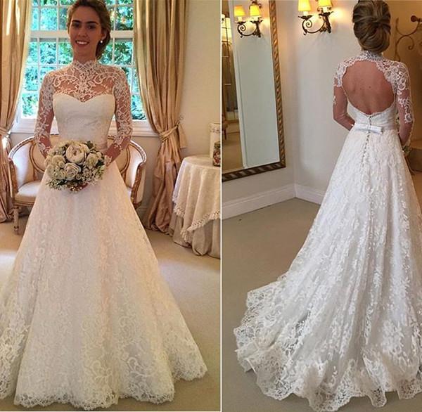 2019 elegante alta neck lace vestidos de casamento de manga longa sem encosto a linha de estilo country vestido de noiva custom made para o casamento da primavera