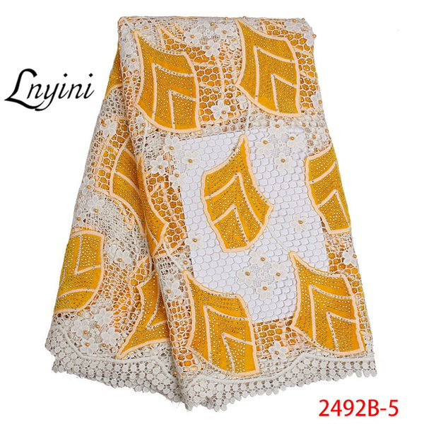Tissus dentelle africaine 5yards guipure jaune dentelle Tissu 2019 haute qualité cordon africain dentelle Tissu pour le mariage du Nigeria L2492B 2