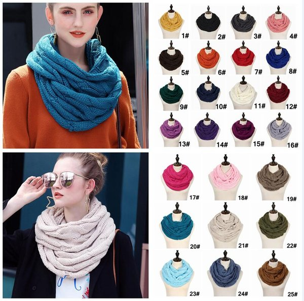 Knitted Circle Loop Scarf With logo Crochet knit Neck Ring Scarf Women Winter Wool Wrap Scarves Thick Warmer Scarf 25Colors 120pcs AAA1452