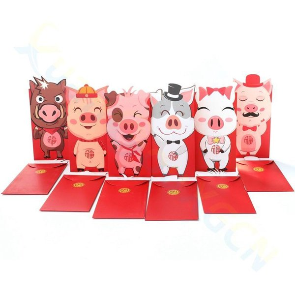 3D cartoon pig red pocket Zodiac kid luckey money bag spring festival gift money packet 2019 pig chinese new Year red envelope