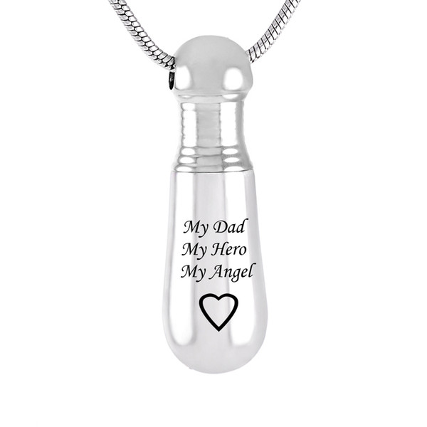 Cremation Ashes Urn Necklace Baseball Bat Exercise Memorial Pendant Jewelry for Exercise Hobby Gift-my dad my angel