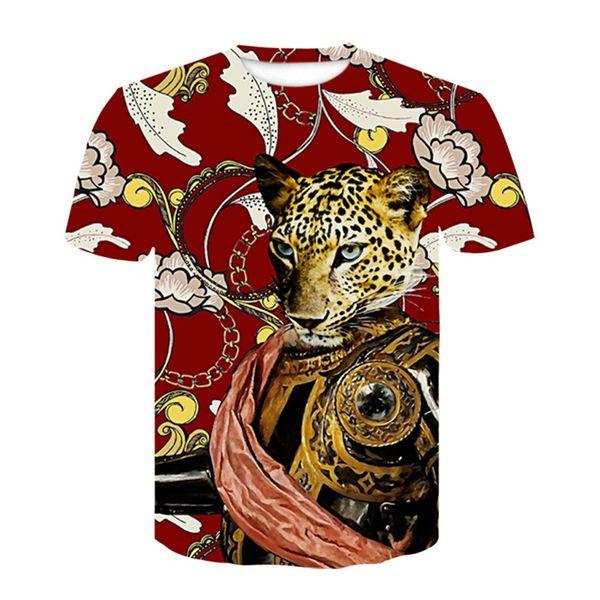 Leopardo 3d Camisetas Engraçado Tops Traje Masculino Roupas de Marca Homens Verão 3d Impressão Rei Leão Camisetas Homme Hip Hop Crewneck Tees Ypf262