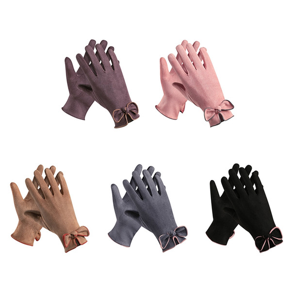 Wholesale-Ladies Gloves Suede Bow Touch Screen Gloves Winter Outdoor Shopping Dating Elegant Warm