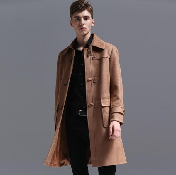 Herren Trenchcoats Mann langen Mantel Männer Leder häkeln Schnalle Kleidung Slim Fit Mantel Langarm Retro Herbst Winter Mode