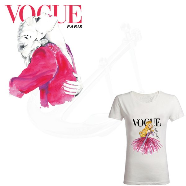 Hot VOGUE Cartoon model Patch for clothing 25*20.5cm iron on patches Diy girl T-shirt thermal transfer sticker