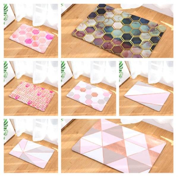 Pink Diamond Geometry Doormat Bath Kitchen Carpet Decorative Anti-Slip Mats Room Car Floor Bar Rugs Door Home Decor Gift
