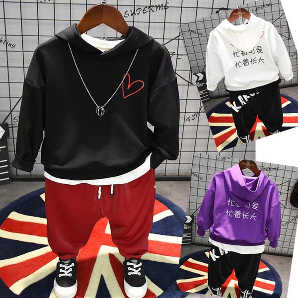 3 PCS meninos meninas conjunto de roupas casuais crianças primavera outono branco preto roxo hoodies patchwork camiseta e calça set crianças 2-7 T