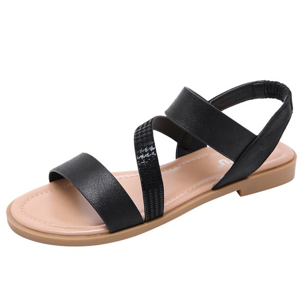 Женщины сандалии мода мягкие сандалии мода лето повседневная Roma твердые круглый носок плоские сандалии дамы рабочая обувь #g8
