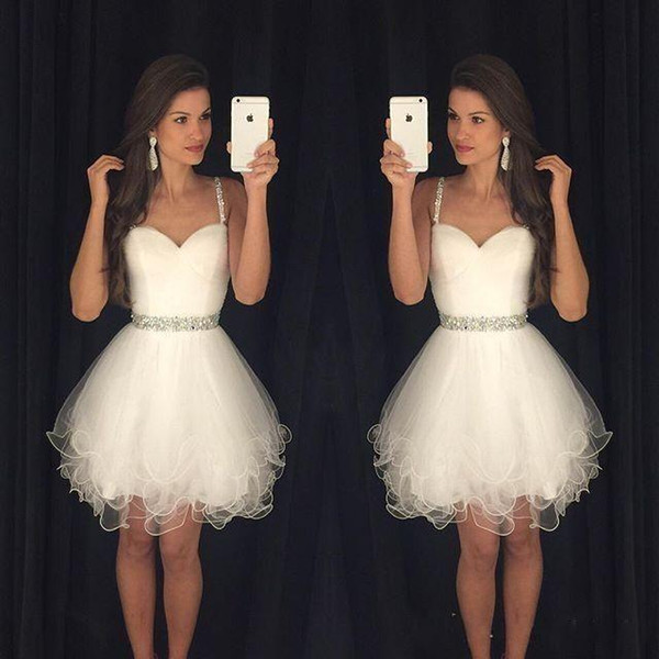 best selling 2019 New Arrival Vestido Formatura Curto Homecoming Dresses Sweetheart Beaded Straps Ruched Backless Short Little White Prom Dresses BA3623