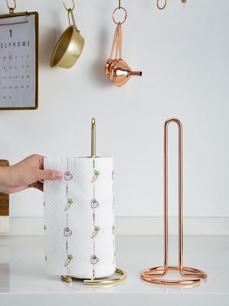 Iron Towel Rack Table Stand Paper Roll Paper Metal Tissue Holder Creative Kitchen Holder Rack