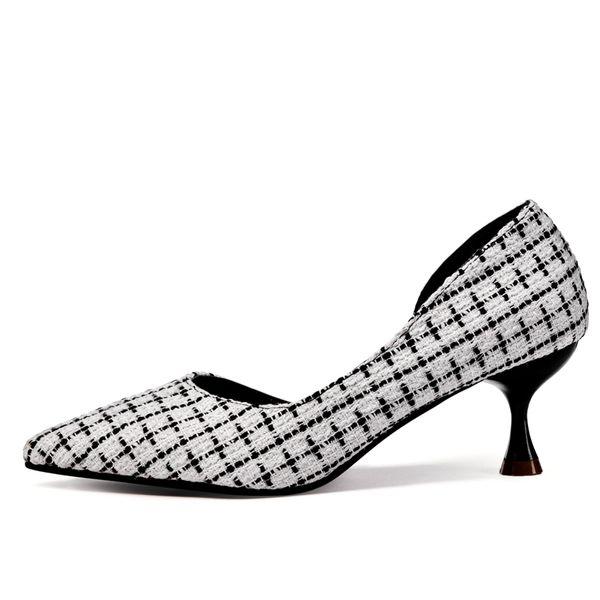 Designer Kleid Schuhe Neue Mode Sexy Spitz Frau High Heels Sandalen Frühling Damen Hochzeit Party Pumps Kleid Schuh Schwarz Weiß