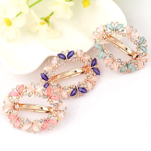 1PC Crystal Rhinestone Clips for Women Girls Flower Butterfly Barrettes Clamp Hairpins Brooch Hair Styling Tools C19010501