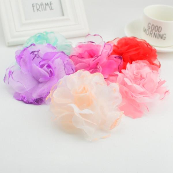 1pcs 10cm High Quality Silk Amethyst Chiffon Artificial Rose Bridal Wedding Headdress Car Decoration Diy Garland Craft Flower