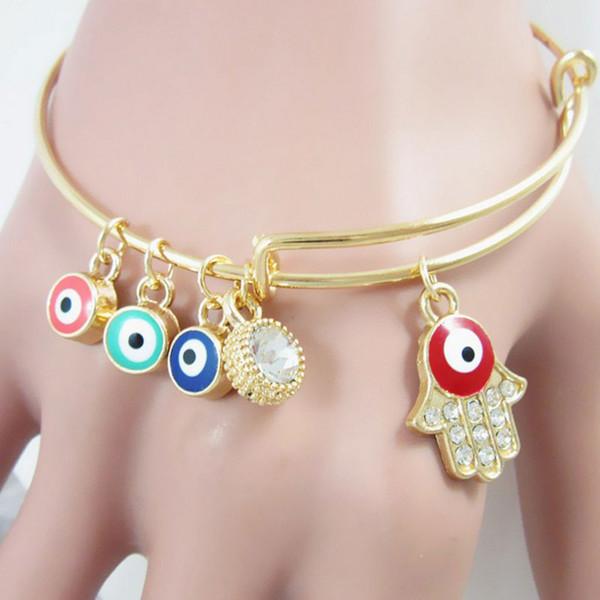 Neue Art und Weise Hamsa Handböser Blick Goldfarbe scherzt Armband-Armband-erweiterbare Schmucksachen für Frauen Freies Verschiffen