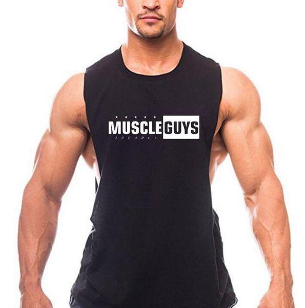 Brand Letter Print Clothing Gyms tank top men Fitness Sleeveless Shirt Cotton blank Muscle vest Bodybuilding Stringer Tanktop