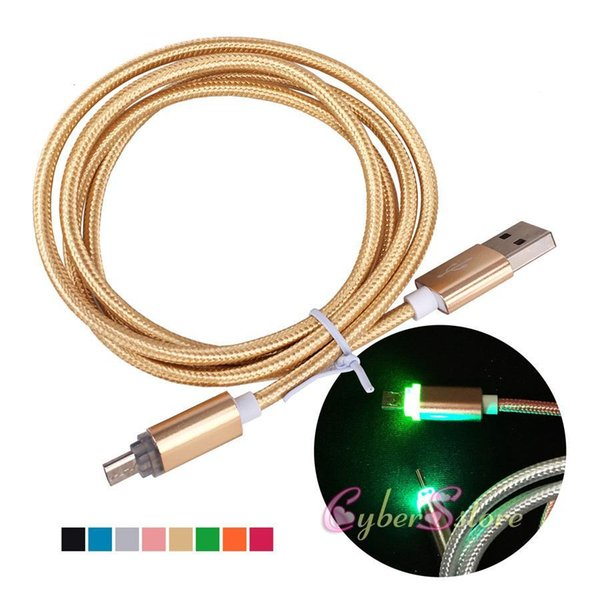 Hope 1M LED light Metal USB Braid Data Cable Micro Charging Cord V8 Lighting For Android Phone Samsung Fast Charger