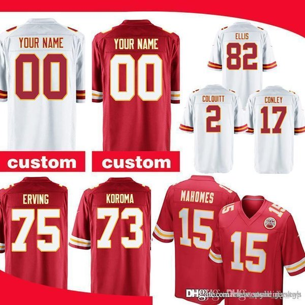 buy popular 8b6c6 cd1ac 2019 Custom Game Kansas City Chief Jersey 15 Patrick Mahomes 95 Chris Jones  35 Christian Okoye 57 Breeland Speaks 7 Harrison Butker From ...