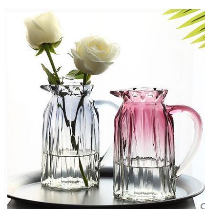 Creative simple glass vase transparent gradient color water culture rich bamboo lily Nordic vase living room flower arrangement