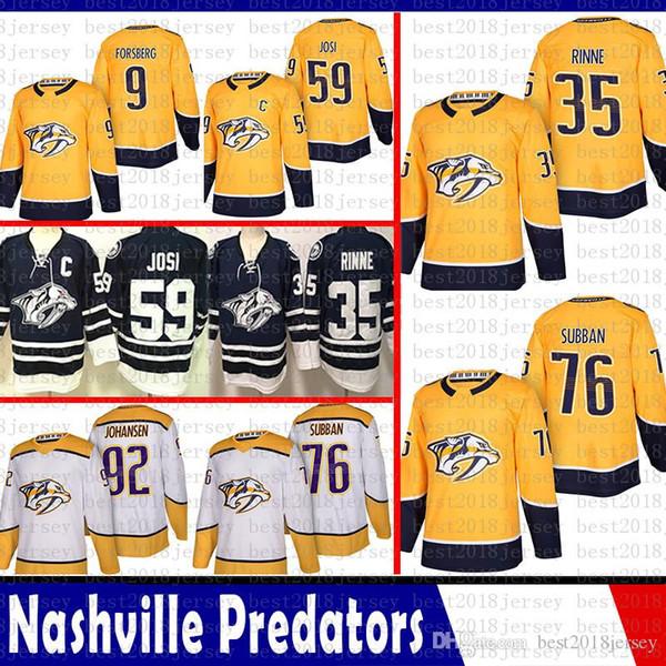 barato Nashville Predators 35 Pekka Rinne 76 P.K. Camisolas de Hóquei Subbanis 9 Filip Forsberg 92 Ryan Johansen 59 Camisa Roman Josi 2018 2019 Novo