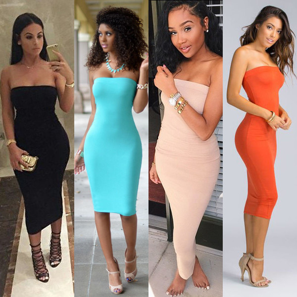top popular 2019 Top Fashion Womens Summer Dresses Strapless Female Clothes Sleeveless Beach Dress Bandeau Bodycon Tube Solid Womens 2021