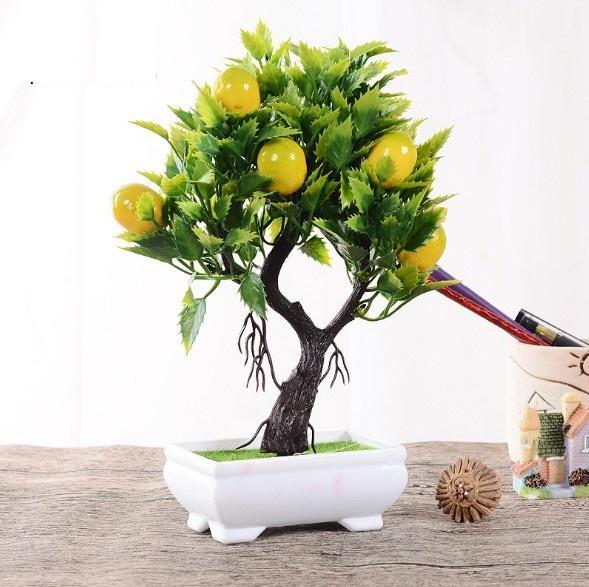 25CM Cute Mini Fruit Bonsai Tree in Pot, Artificial Plant Decoration for Office/Home