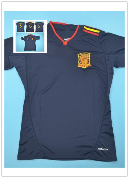 a29d1fc8f TOP Quality Customized Spain Away Jersey, Spain 2010 WC Jersey, 3#PIQUE  6#INIESTA 15#RAMOS 2010 World Cup Black short sleeve Shirts