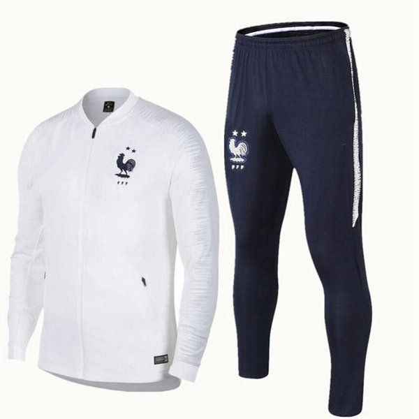best selling French 2star redness training suit 1819 maillot de foot French national football training wear long sleeved tracksuit football jacket pants