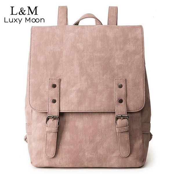 Women Backpack Large School Bags For Teenage Girls Shoulder Bag Vintage Pu Leather Backpacks Black Casual Solid Rucksack Xa83h Y19051405
