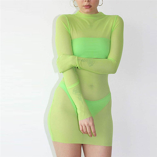 Women Mesh Transparent Dress Sexy Night Club Clothes Hot Sell Long Sleeve Skinny Solid Turtleneck See Through Mini Dresses Party