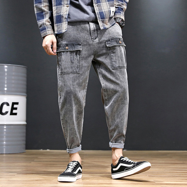 Denim Jeans Men Cargo Pants Pockets Solid Color Stretch Plus Size Vintage Lightweight Summer Male Loose Ankle-Length Jeans