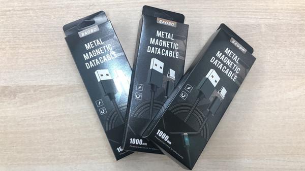 BAOBO Nouveau 3 en 1 Métal Magnétique Micro Câble USB Données Sync Chargeur Chargeur Cordon Cordons Pour Android type-c Smartphone Avec Paquet De Détail