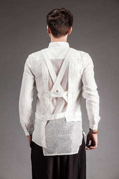 2018 homens independentes roupas masculinas gaze verão camisa de manga longa masculino M-XL roupas do cantor desgaste de alta qualidade