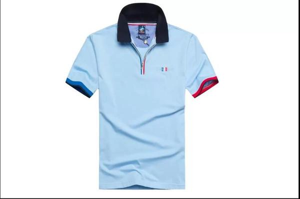 Мужская футболка с короткими рукавами с круглым вырезом деловая рубашка поло с молнией и простой модой хлопчатобумажная рубашка с коротким рукавом мужская одежда 02